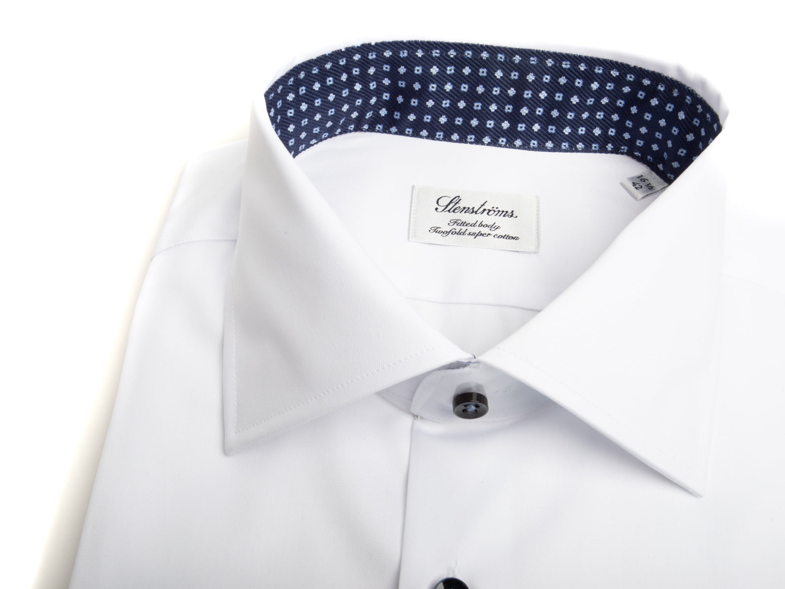White Dress Shirt with Trim Detailing and Navy Buttons