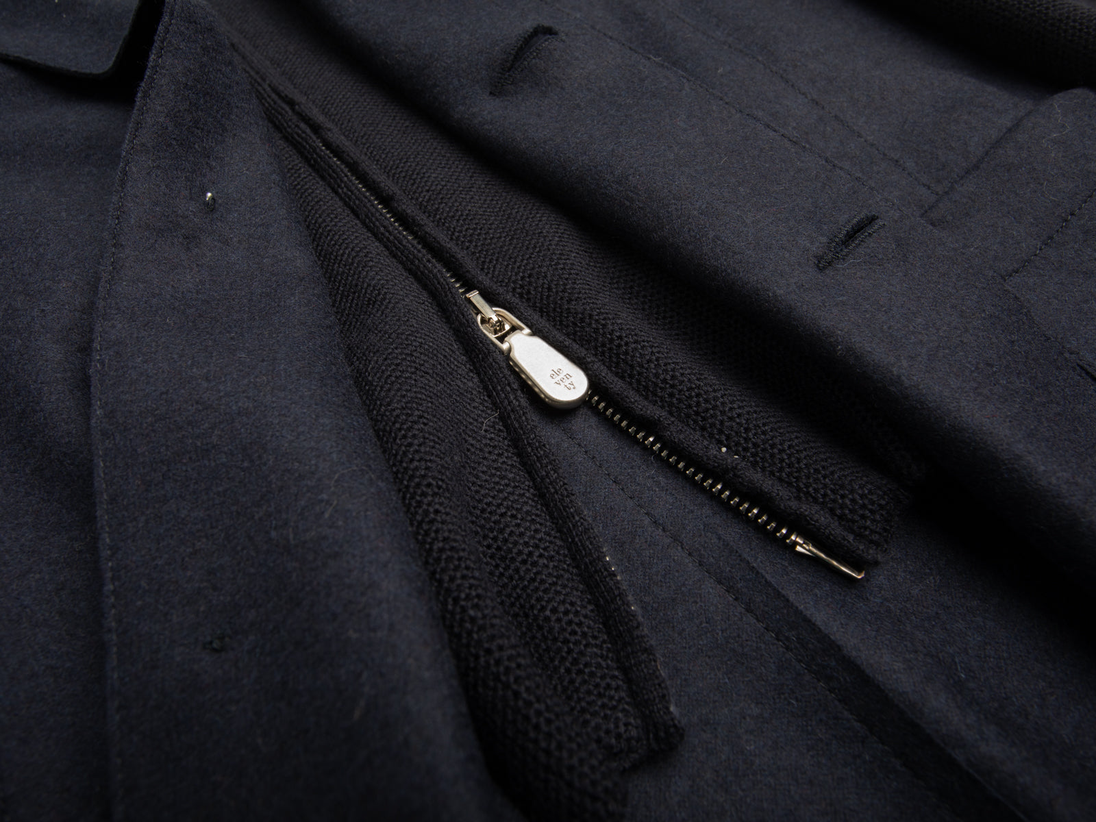 Navy Mixed Media Hooded Jacket