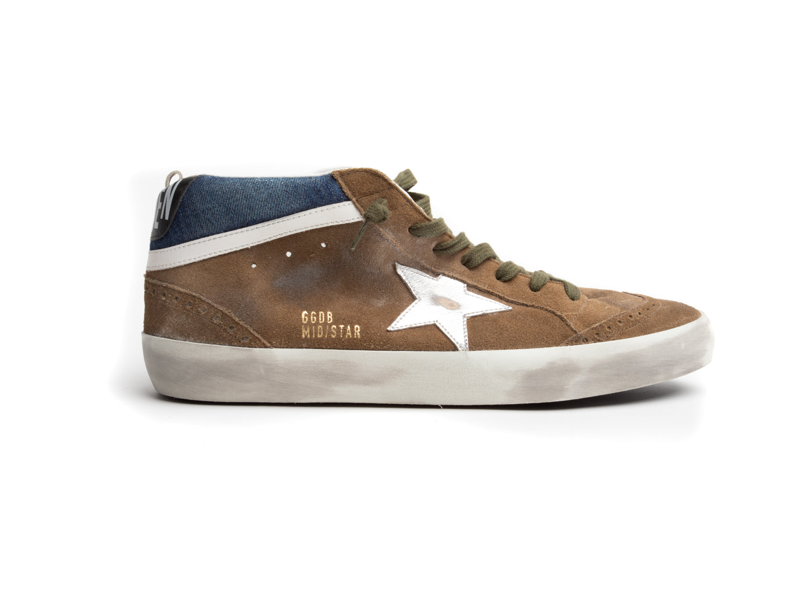 Mid-Star Sneaker with Tobacco Suede, Denim and Silver Star