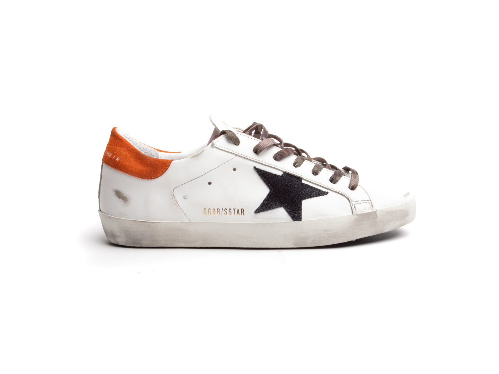 Superstar Sneaker in White with Orange Heel and Navy Suede Star