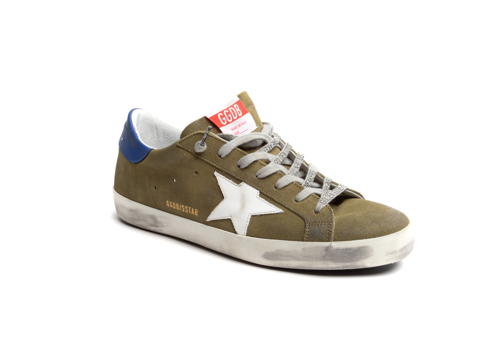 Superstar Sneaker with Green Suede, Royal Hell and White Star
