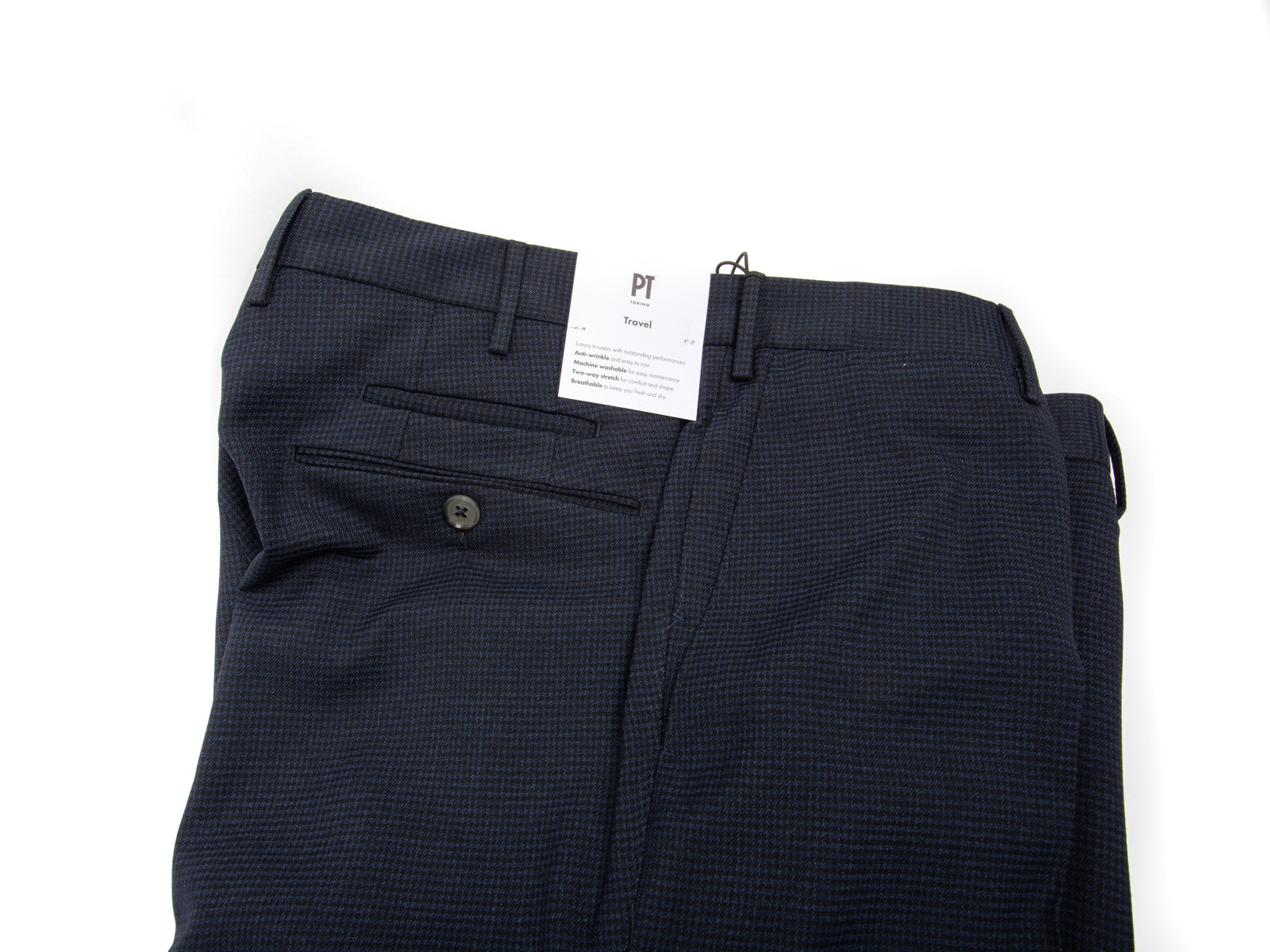 "Navy Techno Washable ""Travel"" Houndstooth Trouser"