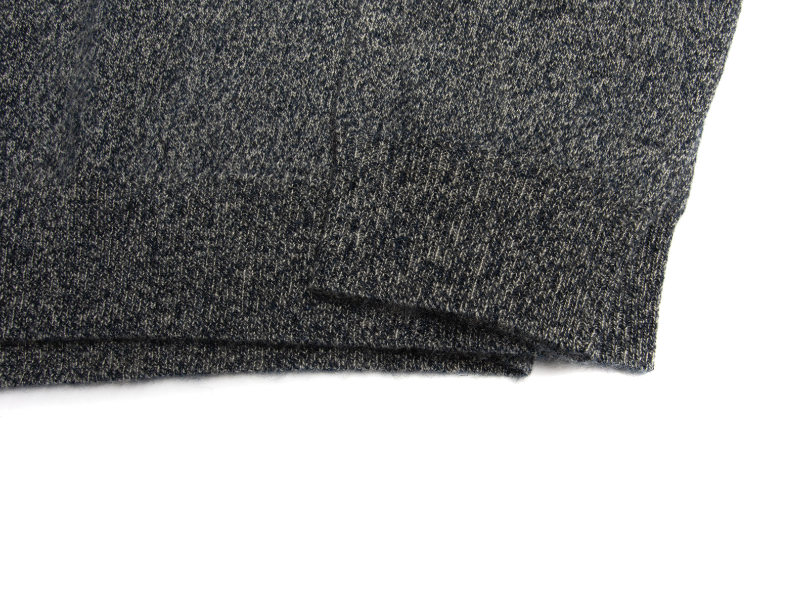Cashmere Heathered Navy with Suede Trim Button Mock