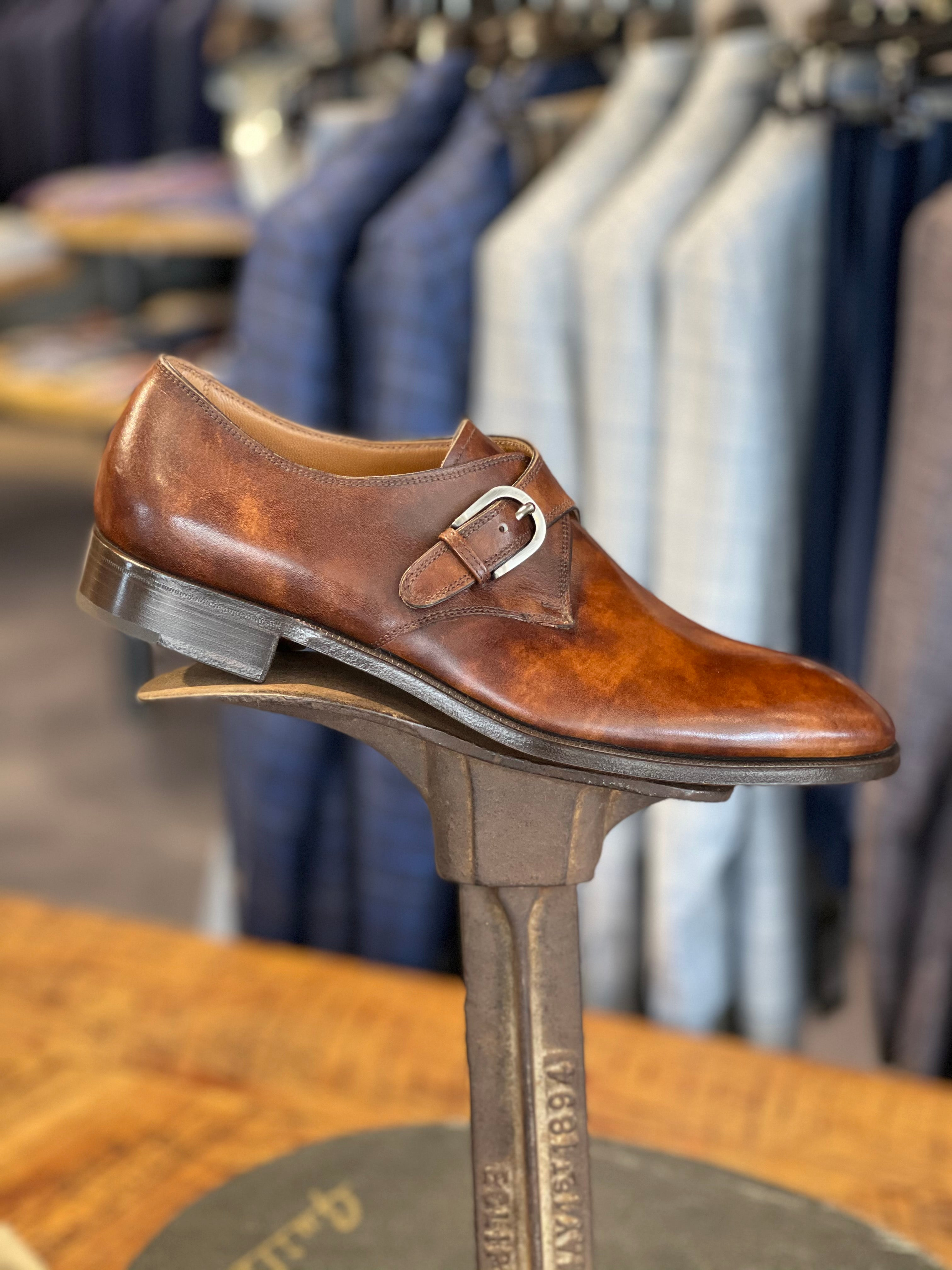 Monk Strap in Burnished Mahogany Calfskin