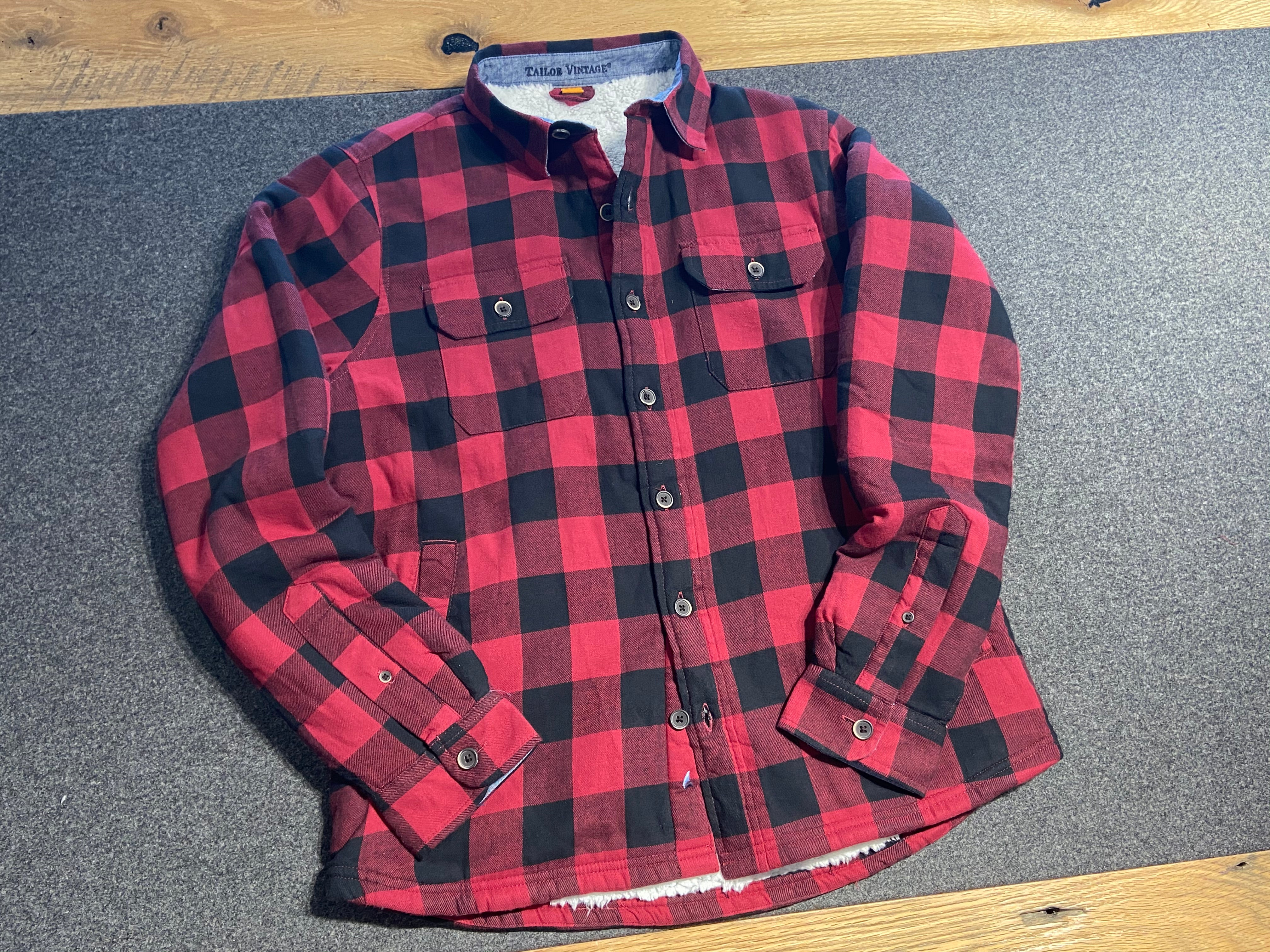 PUREtec cool® Flannel-Sherpa Fully Lined Shirt Jacket in Tibetan Red Buffalo Flannel
