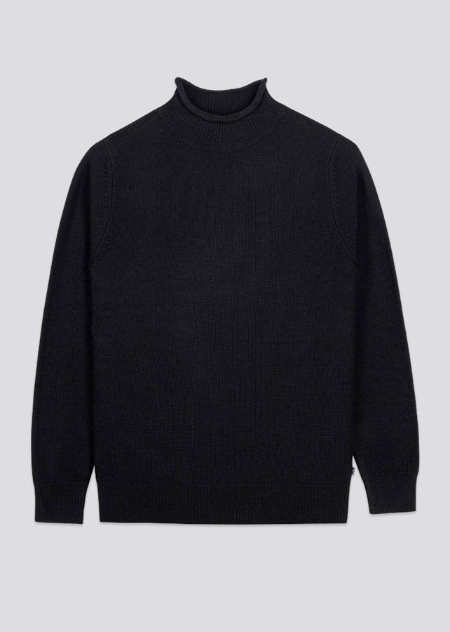 Fordwich Rolled Collar Jumper in Black