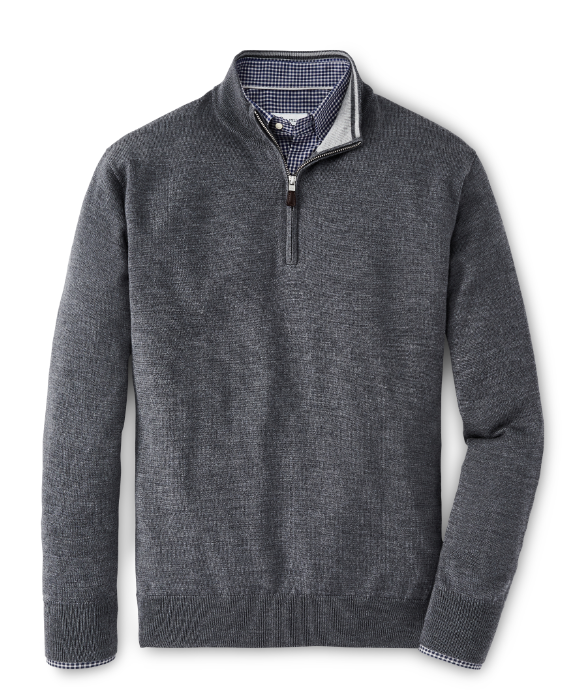 Crown Soft Merino-Silk Quarter-Zip Sweater in Charcoal