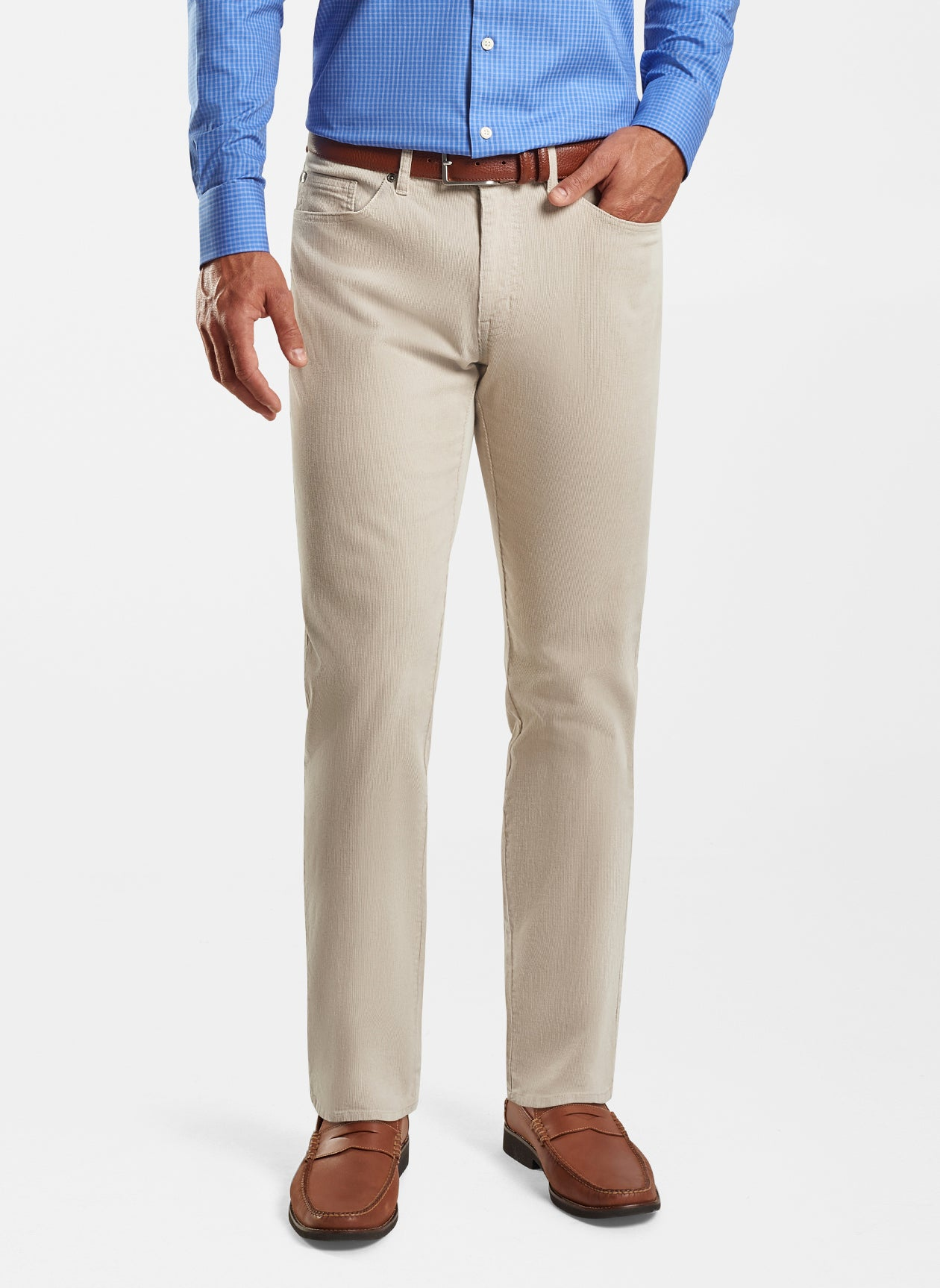 Superior Soft Corduroy Five-Pocket Pant in Stone