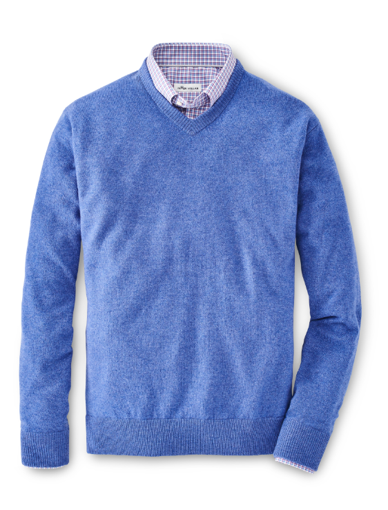 Crown Soft Cashmere V-Neck Sweater in Cape Blue