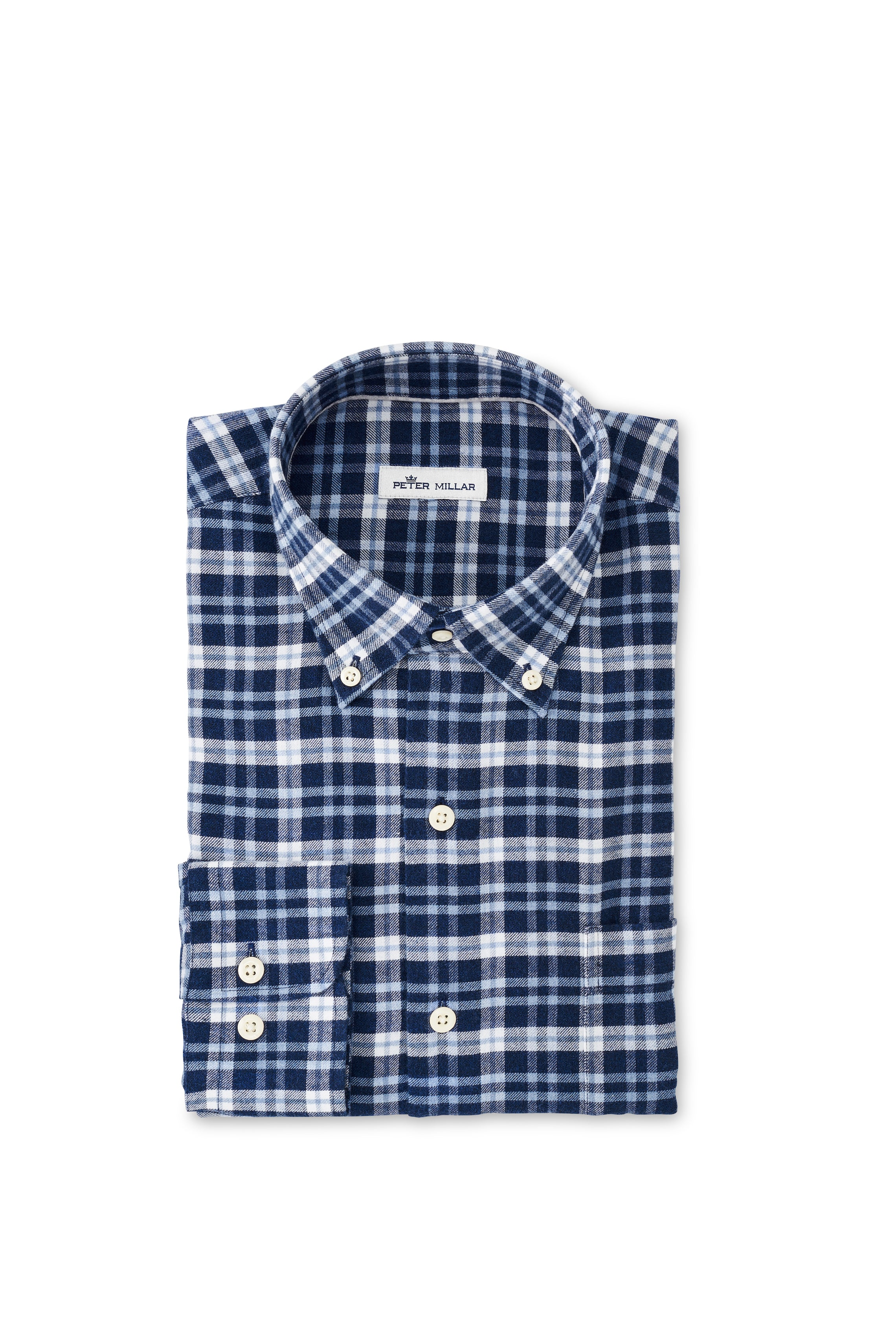 Gus Flannel Sport Shirt in Navy