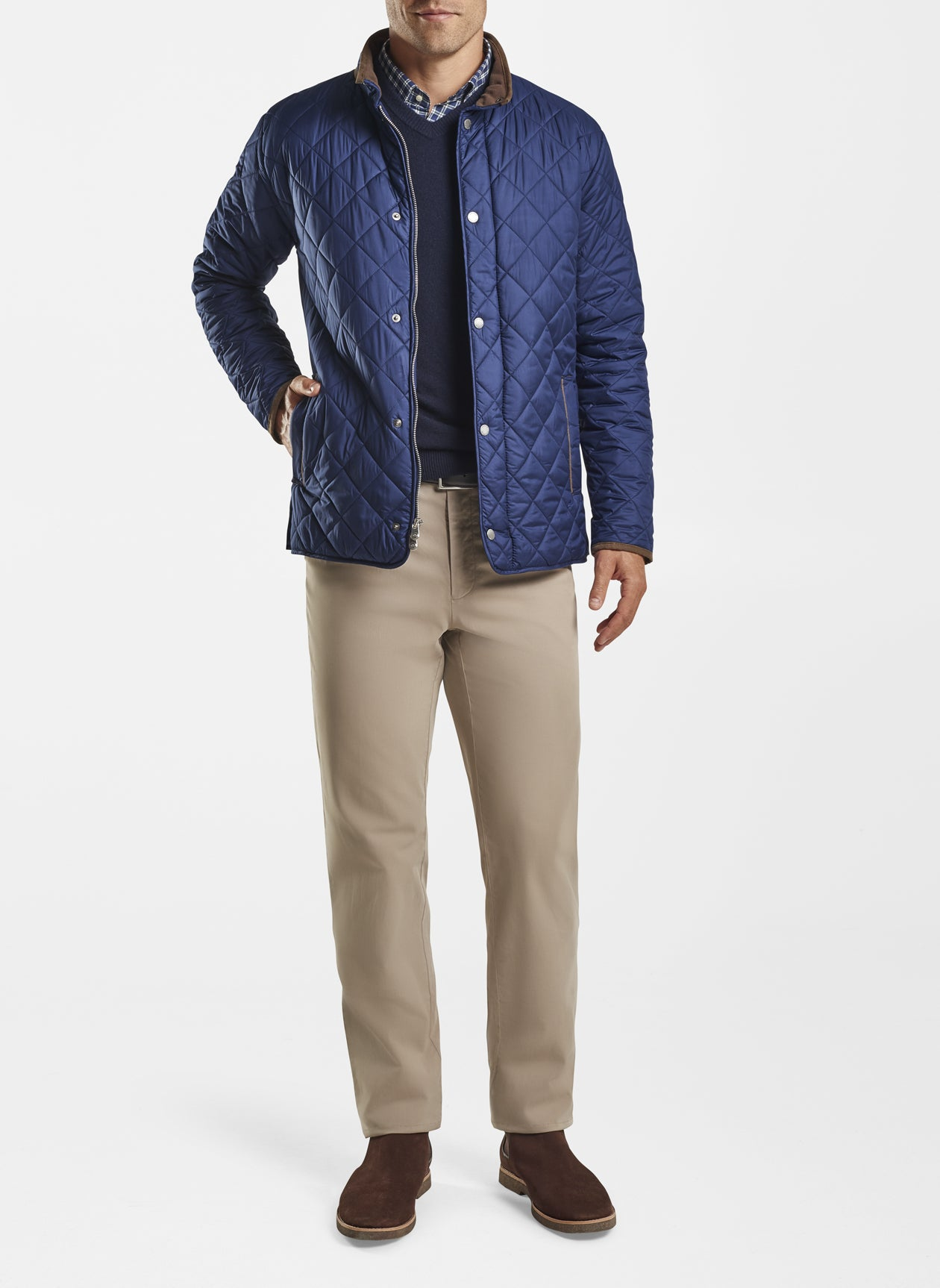 Quilted Travel Coat - Navy
