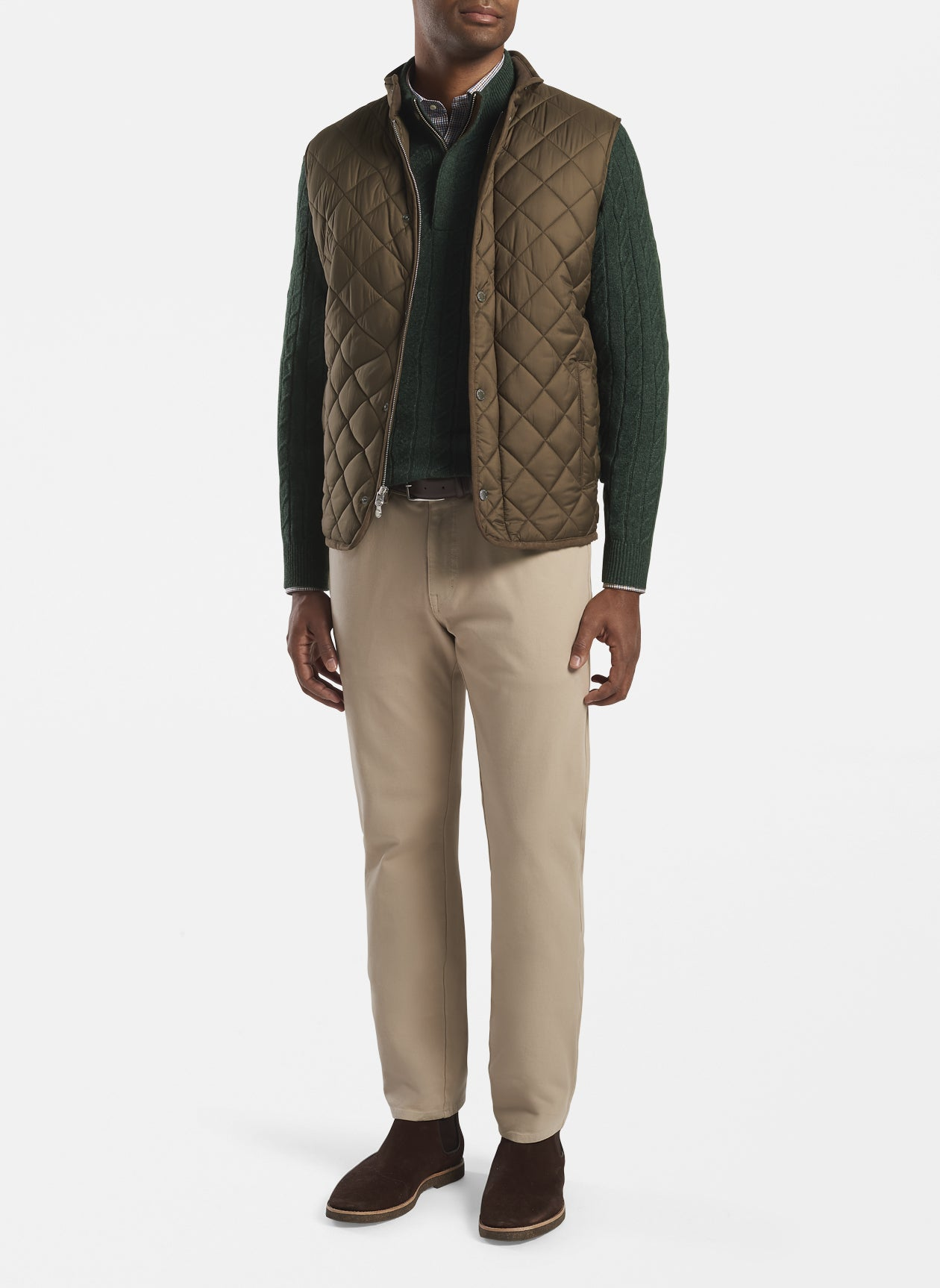 Essex Quilted Travel Vest in Carob Brown