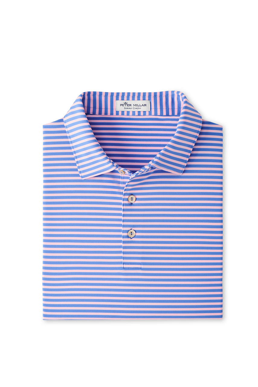 Mills Performance Jersey Polo in Blue Sea & Palmer Pink