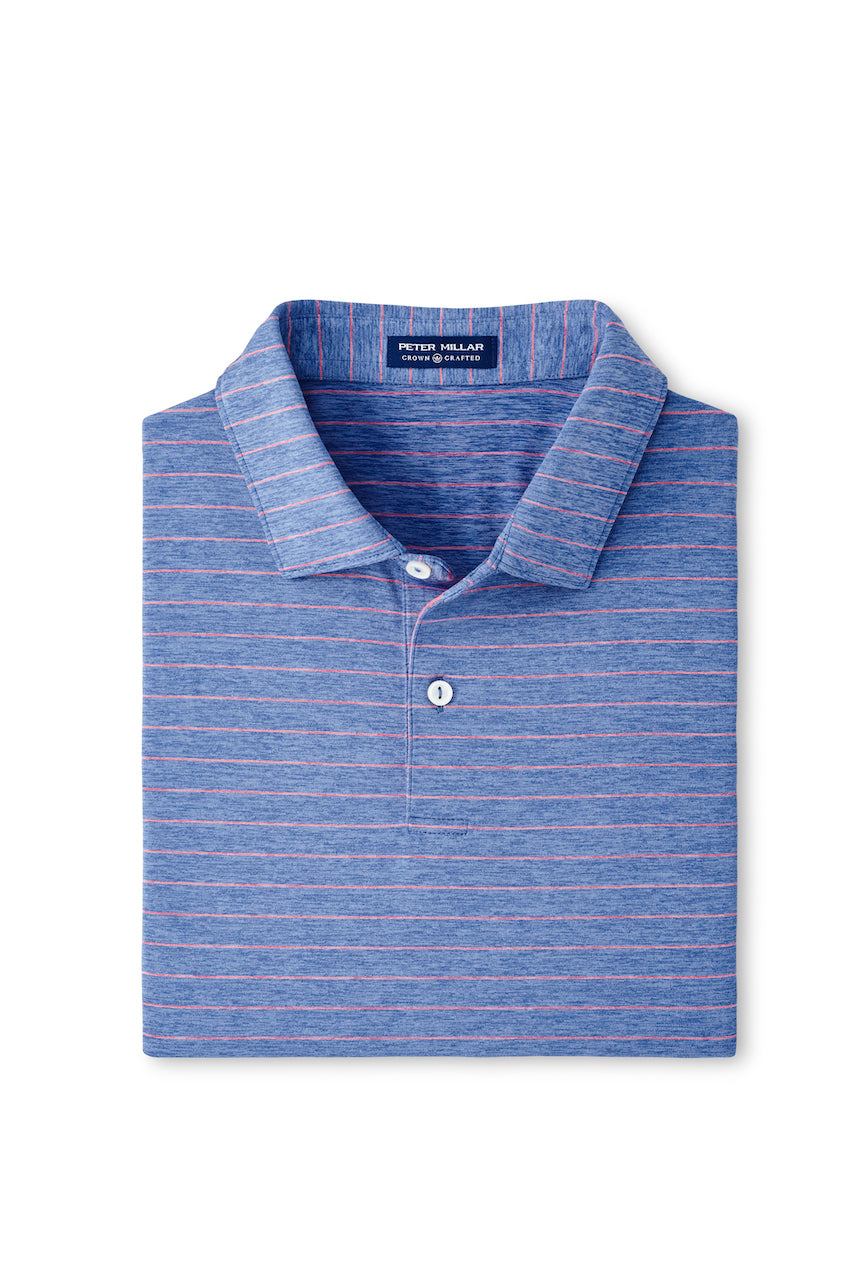 Wright Stripe Performance Polo in Lunar Blue