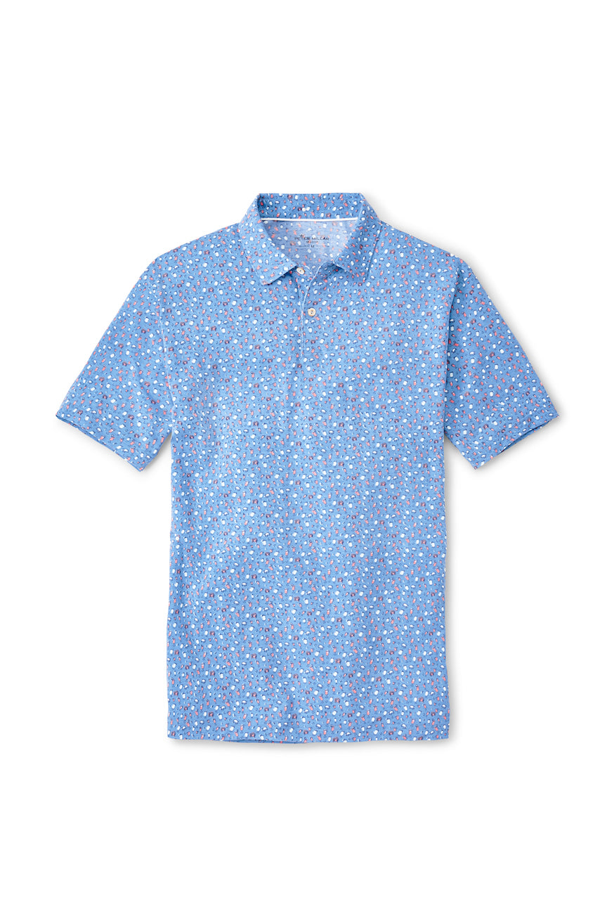 drirelease Natural Touch Cocktails & Claws Polo in Coastal Blue