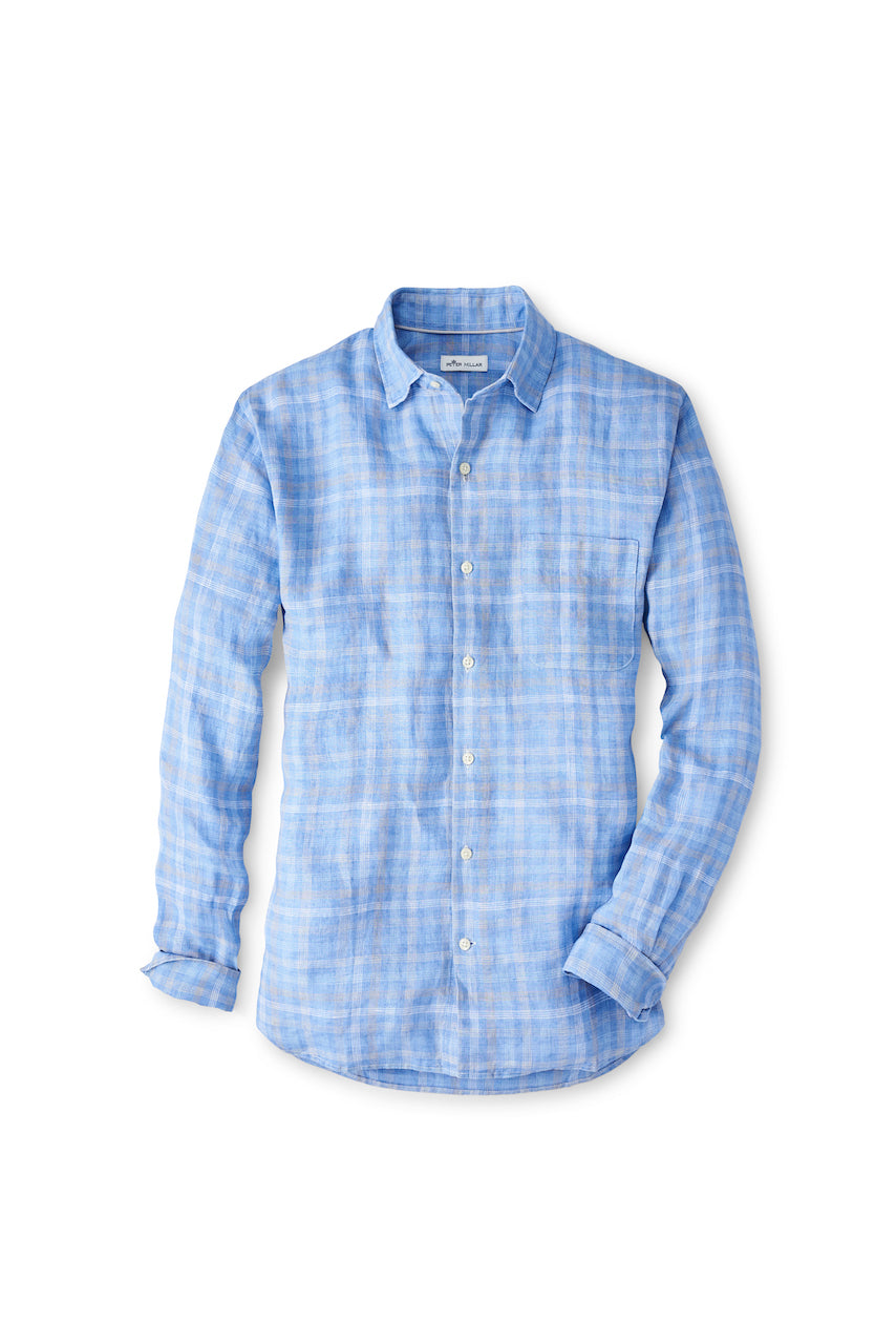 Duxbury Beach Linen Sport Shirt in Coastal Blue
