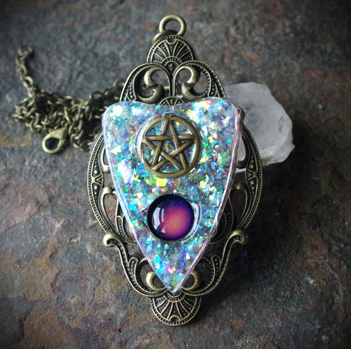 Black Resin Unisex Planchette With Bronze Moon Hand Made Necklace