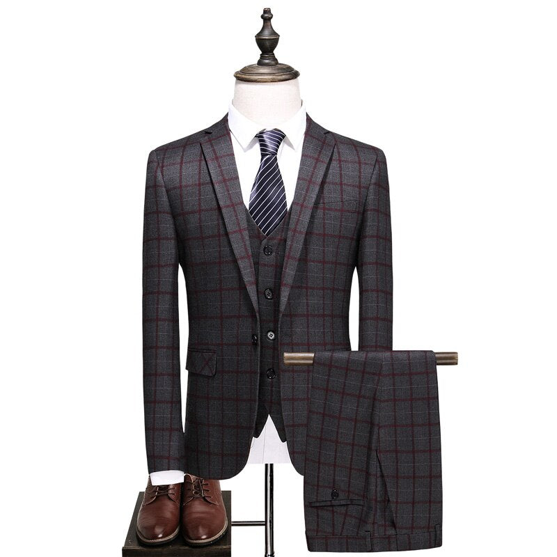 Men's Clothing Gentleman Wedding Men Plaid Suit
