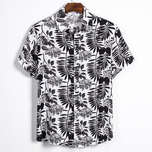 men Short sleeve printed stitching shirt