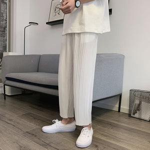 Summer Pleated Pants Men's Fashion Solid Color Pants