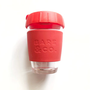 Bare & Co. - Reusable Coffee Cup with Plug Lid - Red (12oz/340ml) Bare & Co. - The Well Store