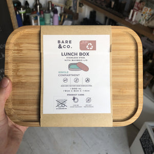 Stainless Steel Lunch Box with Bamboo Lid (1200ml)
