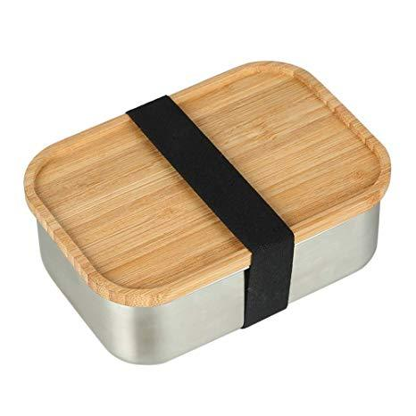 Stainless Steel Lunch Box with Bamboo Lid (800ml)