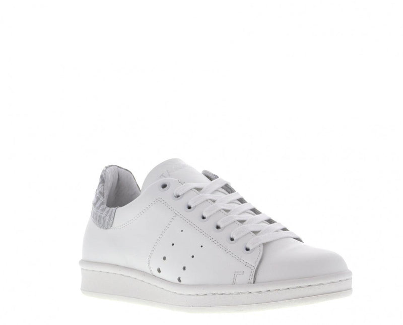 Anna 17-dh white leather/croco silver - white sole