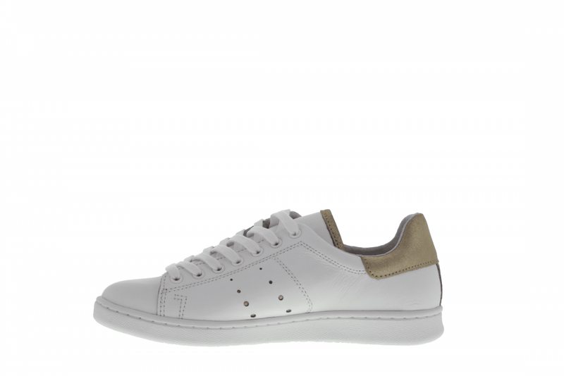 Anna 317-cc white leather/gold crack