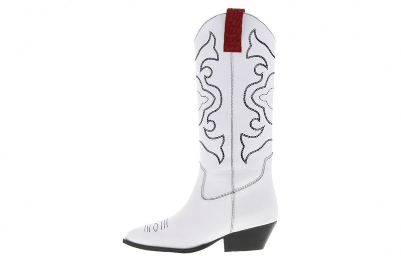 Anne - De Huismuts white leather western boot - black heel/sole