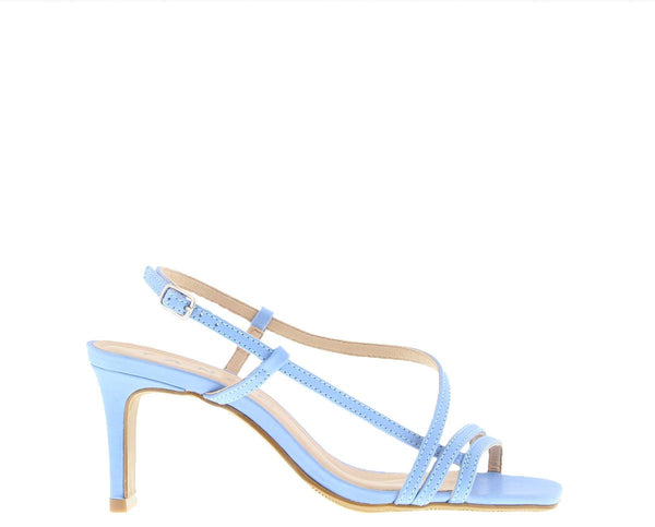 Ava 3-c blue strap carre mule - covered heel/sole