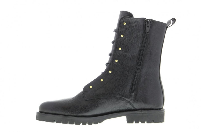Bee 135-c black leather blind closure boot with gold studs - black sole/studs welt on heel