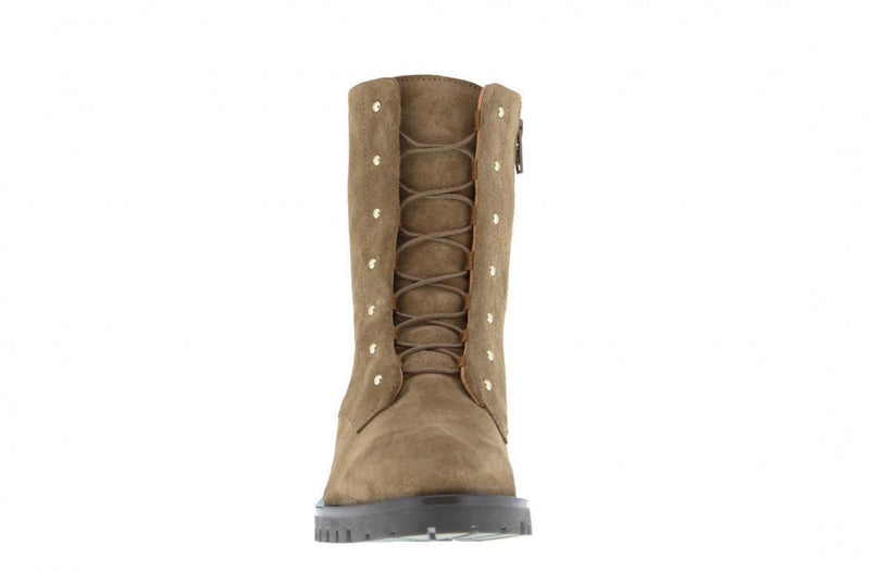 Bee 135-d cognac suede blind closure boot with gold studs - dark gum sole/studs