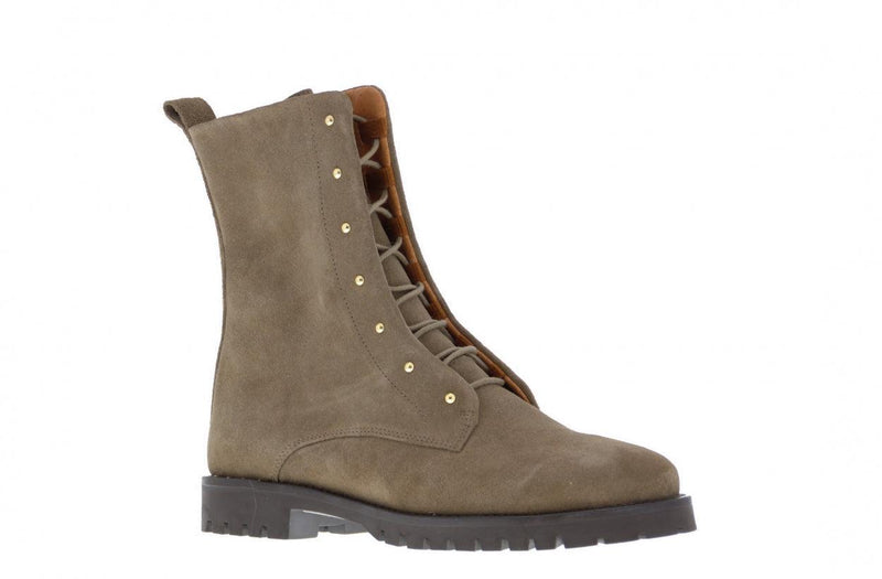 Bee 135-f taupe suede blind closure boot with gold studs - dark gum sole/studs