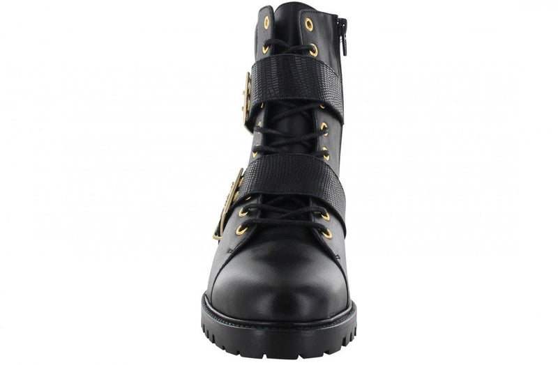 Bee 139-a p.w black leather/lace up boot with buckles - black sole