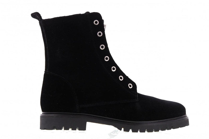 Bee 161-a black velvet boot/blind closure/zipper  - black sole