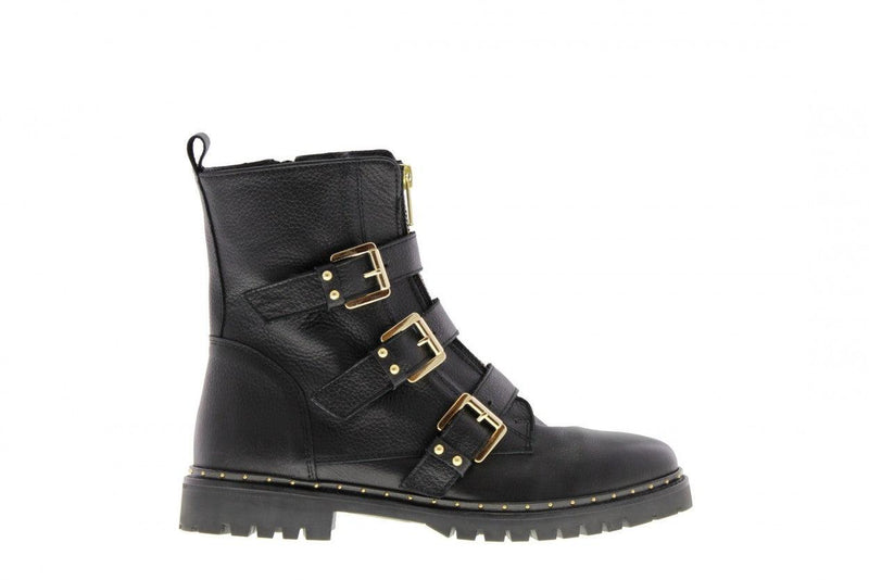 Bee 165-a black leather front zipper/buckles - black sole/studs welt