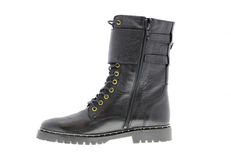 Bee 167-a black leather high lace up boot/buckles - black sole/studs welt