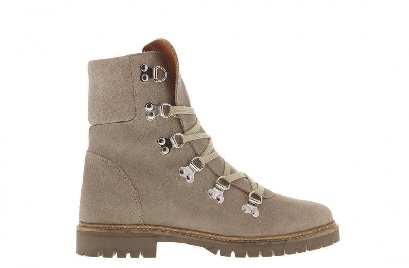 Bee 178-a beige suede hiking boot/d-rings - natural sole