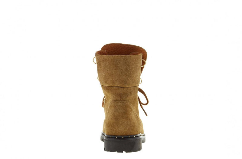 Bee 178-b cognac suede hiking boot/d-rings - dk brown sole/studs welt