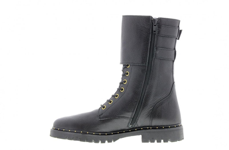 Bee 216-a black leather high lace up boot/buckles - black sole/studs welt