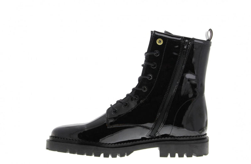 Bee 281-b black patent biker boot - black sole/welt