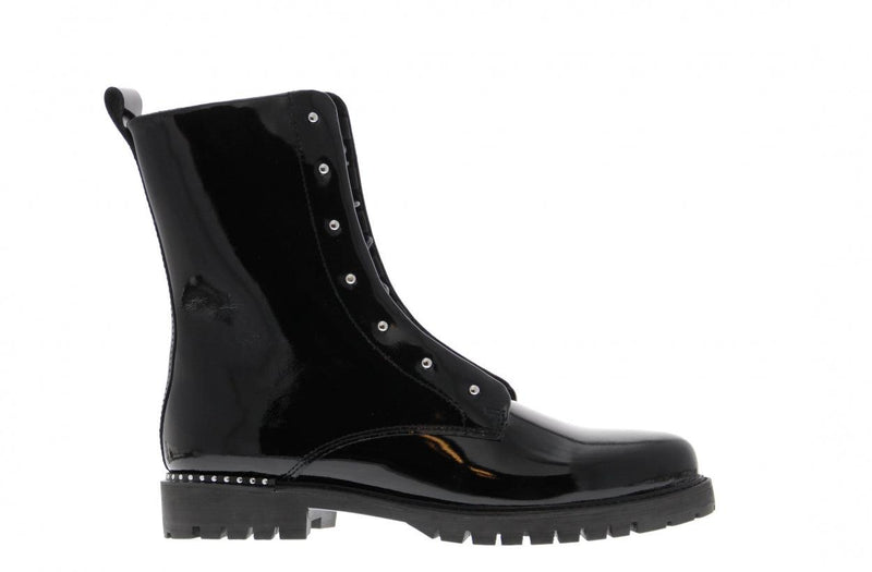 Bee 3135-b black patent blind closure boot with studs - black sole/studs we