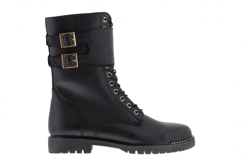 Bee 3140-a blk shiny leather high lace up boot/buckles - black sole/partly stud