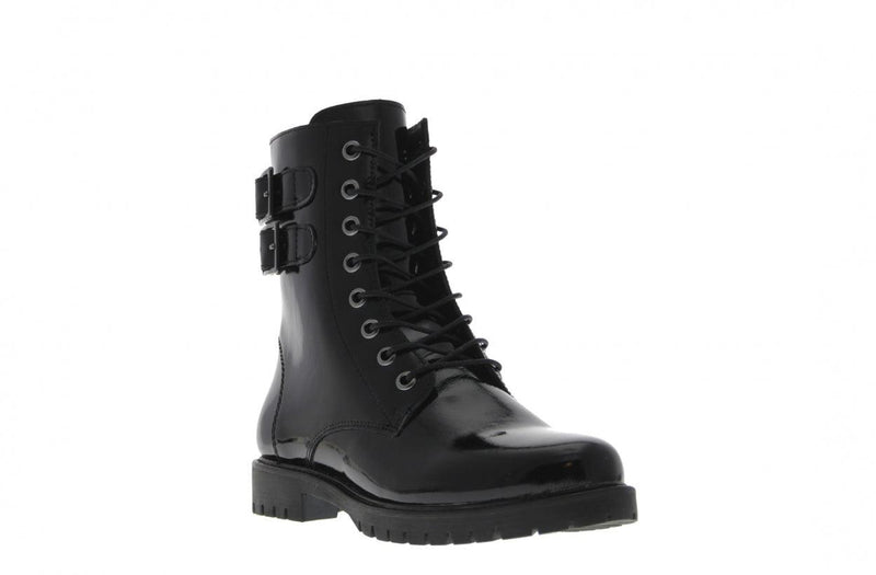 Bee 329-c biker 2 straps black crack patent - black sole