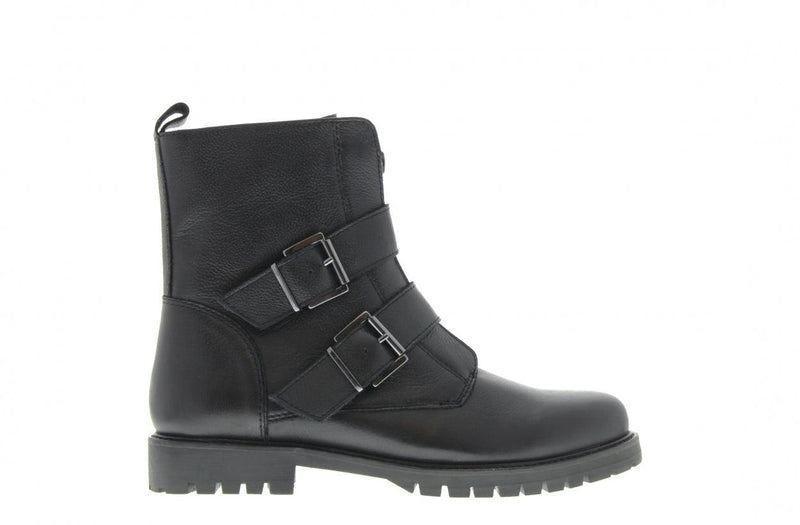 Bee 375-d black leather front zipper/buckles - black sole
