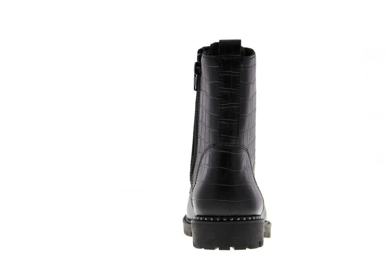 Bee 378-c black croco leather big rings boot/grossgrain laces - black sole