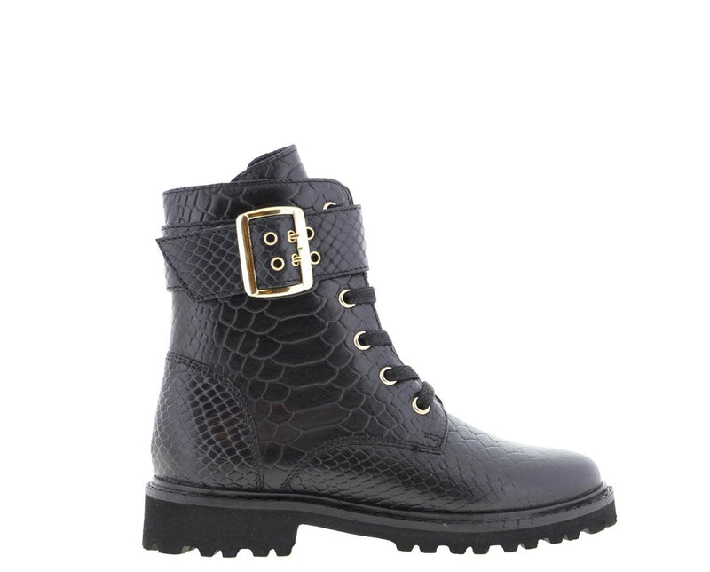 Bee 524-b kids black anaconda boot/strap/buckle gold - black sole