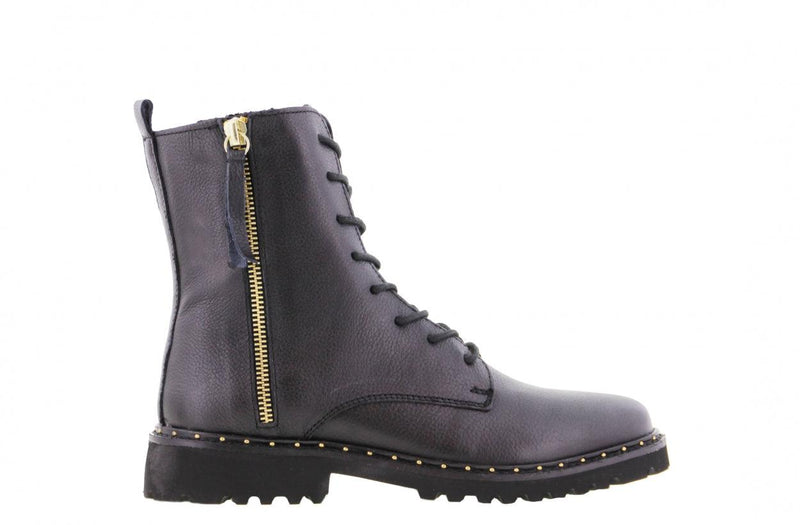 Bee 537-a black boot/gold zipper - black sole/studs welt