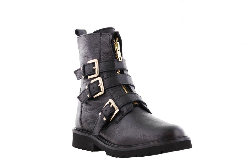 Bee 565-a black leather front zipper/buckles gold - black sole